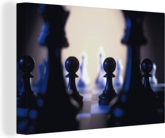 De zwarte pionnen van het schaken canvas 180x120 cm - Foto print op Canvas schilderij (Wanddecoratie woonkamer/slaapkamer) XXL
