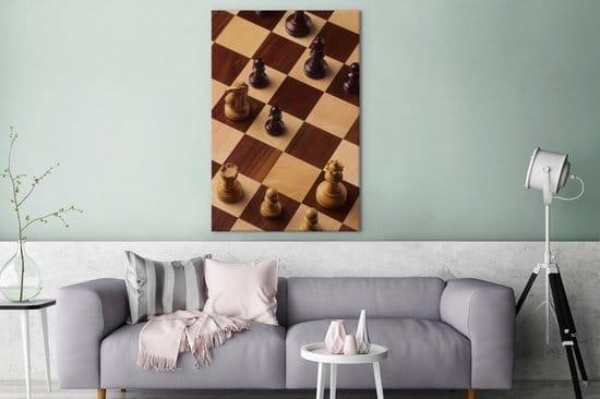 Het schaakbord gedurende een potje schaken canvas 80x120 cm - Foto print op Canvas schilderij (Wanddecoratie woonkamer/slaapkamer)