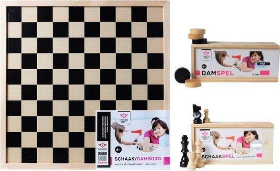 Longfield Games Compleet dam/schaakbord met schaakstukken en damstenen