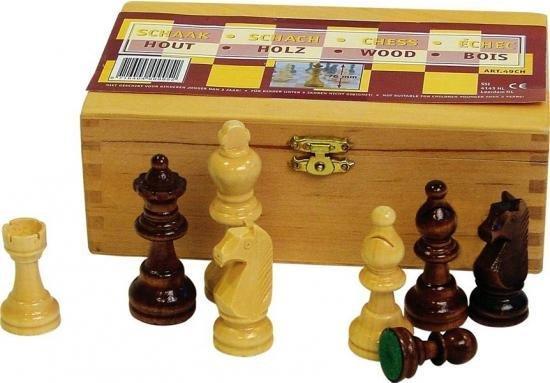 Houten schaakstukken maat 3 - met kistje