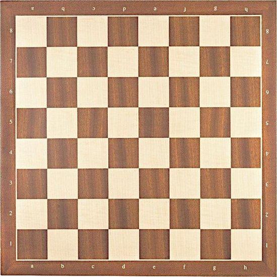 Luxe schaakbord mahonie en esdoorn 45 cm met notatie - veldmaat 50 mm - maat 5
