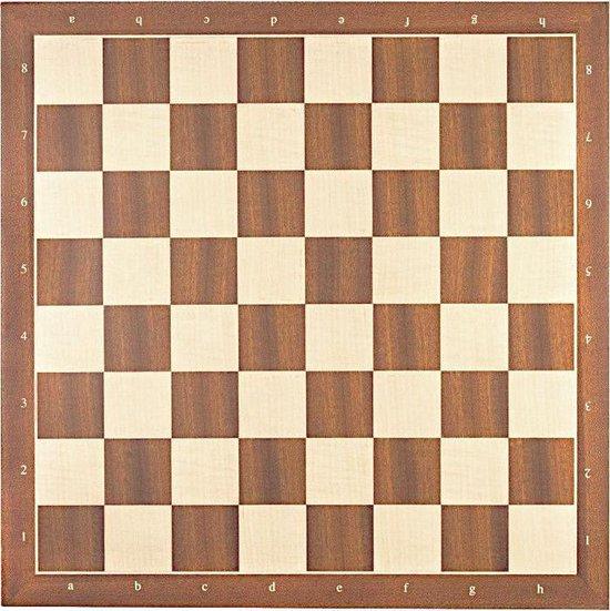 Luxe schaakbord Staunton 6 - mahonie en esdoorn 50 cm met notatie - veldmaat 55 mm
