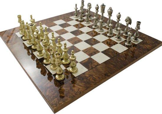 Luxe schaakset - Arabische stijl schaakstukken goud zilver met schaakbord van walnoothout - 51 x 51 cm