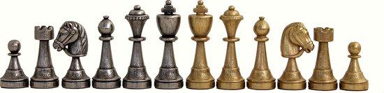 Luxe schaakset - Staunton stukken klassiek goud zilver met opbergbox zwart goud (+ backgammon) - 35 x 35 cm