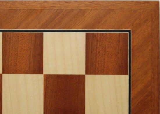 Schaakbord Mahonie/Ahorn diagonaal V.55mm.52cm