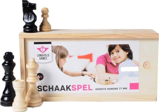 Schaakstukken In Kistje - maat 3 - Koning 77mm - Essenhout