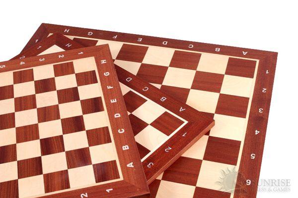 Schaakbord professioneel Sapele Esdoorn met coördinaten maat 5 - 3