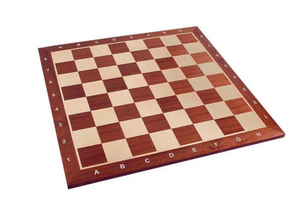 Schaakbord professioneel Sapele Esdoorn met coördinaten maat 5